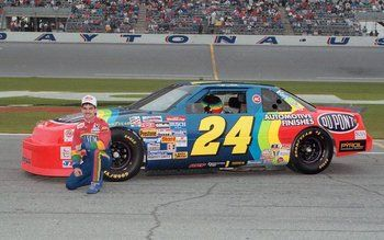 21-yr-old Jeff Gordon 1st got behind the wheel of his rainbow-colored 24 DuPont Chevrolet, no one knew he would become the 3rd-winningest driver in NASCAR history. 1993-2010 DuPont was the primary sponsor on his car & now is a part-time sponsor. This pairing has proven to be quite successful. He is a 4x series champion, with only 8 of his 87 victories at the Sprint Cup level not with DuPont on the hood. The paint scheme has changed a few times, but the original  will remain the most iconic