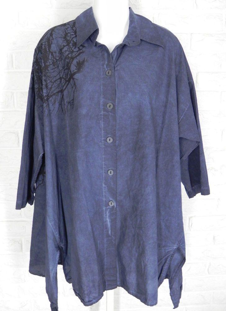 LUUKAA Tunic Shirt Distressed Branch Print Navy Black NWT Sz I II S M L XL #Luukaa #Tunic #Casual