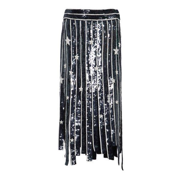 MONSE Star Fringe Skirt ($3,990) ❤ liked on Polyvore featuring skirts, navy, navy skirt, sequin stripe skirt, stripe skirt, navy blue striped skirt and navy striped skirt