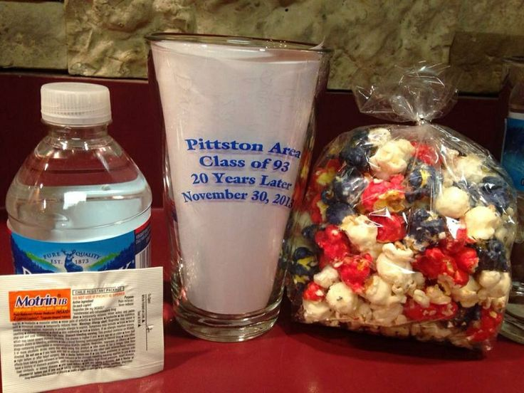 Reunion gift bags! Printed pint glass, water, Motrin and chocolate covered popcorn