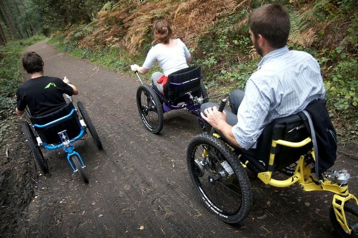 The Mountain Trike is a revolutionary All-Terrain Manual Wheelchair which has been designed using a masterful blend of unique innovation and drive system with high specification mountain bike technology. It provides wheelchair users with far greater freedom and independence than ever before to travel safely off the beaten track.