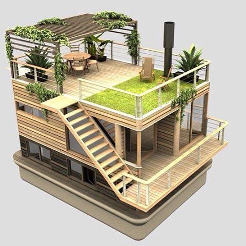 Casa flutuante ecológica.