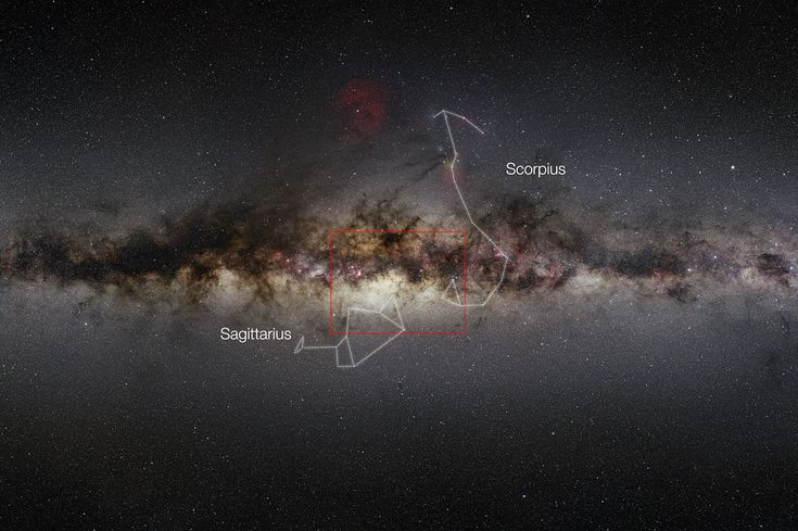 This very wide-field view of the Milky Way shows the extent of the 84-million-star VISTA infrared image of the center of the galaxy (delineated by red rectangle).