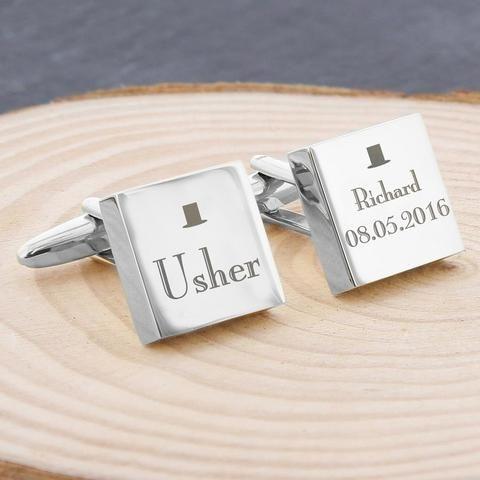 Personalised Usher Gifts - Personalised Decorative Wedding Usher Cufflinks