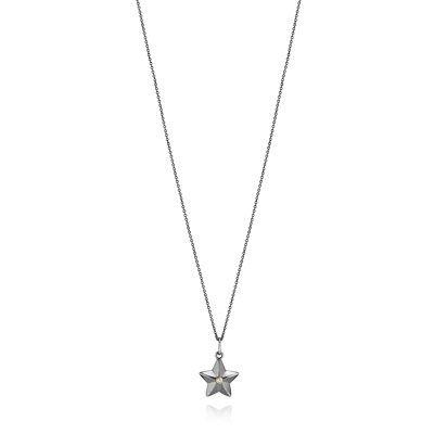 PANDORA | Kette mit Anhänger, oxidiertes Sterling-Silber, 14-K-Gold, Diamant 0.02 ct w/vs  390327D-90