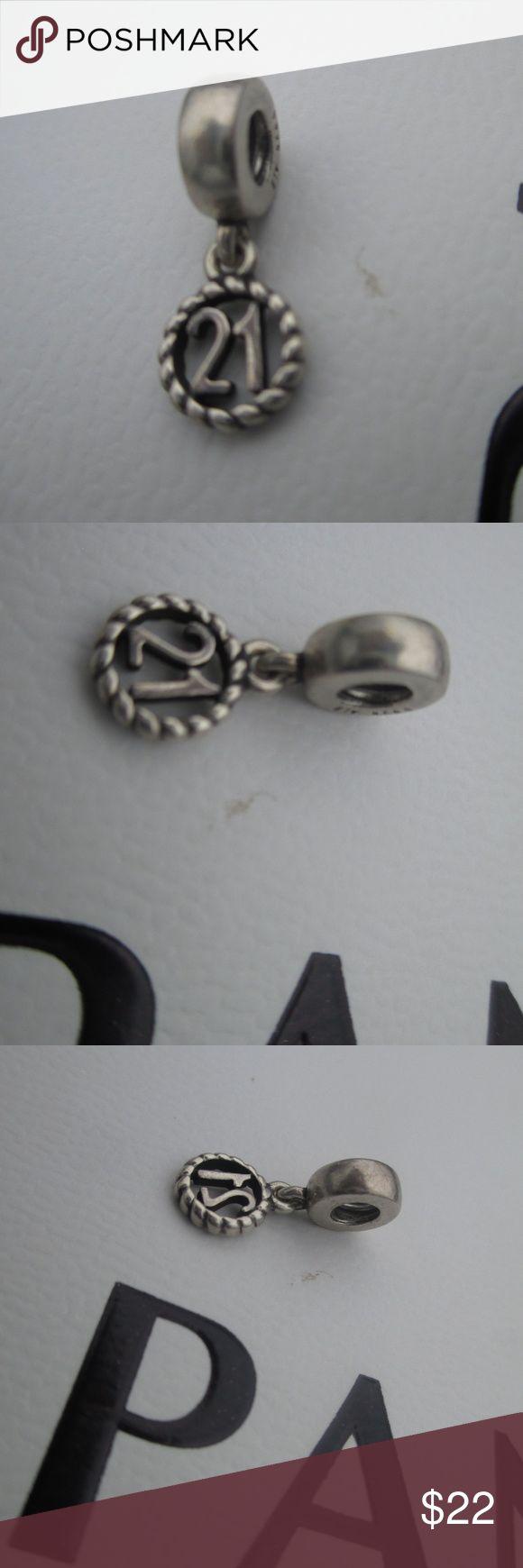 PANDORA 925 ALE STERLING SILVER DANGLE 21st 790496 AUTHENTIC PANDORA 925 ALE STERLING SILVER DANGLE 21st BIRTHDAY CHARM 790496 pandora Jewelry Bracelets #pandorajewelry