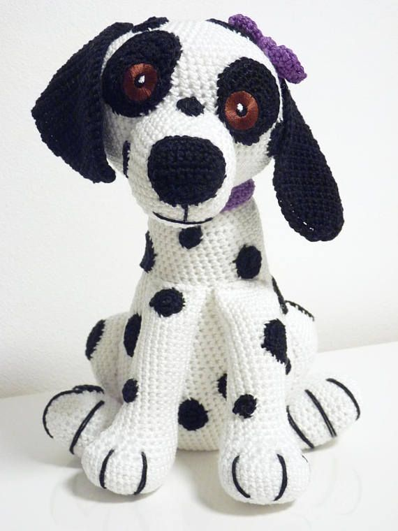 Crochet Pattern Damlatian Buffy Amigurumi PDF White Dog Black