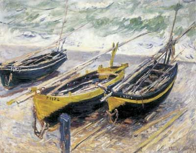 Claude Monet, Three Fishing Boats Fine Art Reproduction Oil Painting