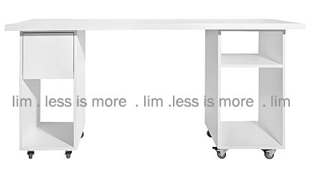 1 TOP/COMBO/WHITE - D5 .1 top/combo/white -  32mm top, one storage cube on castors and one storage cube with one drawer on castors