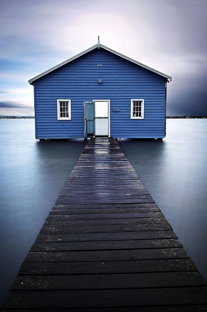 The Cralwey boatshed sitting on Matilda bay on Perth's Swan River, Western Australia. By Tim Wrate.