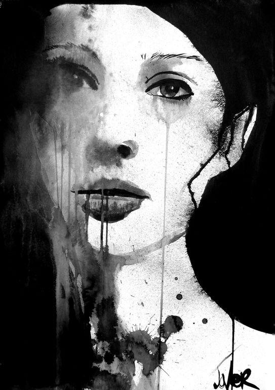 "Saatchi Online Artist: Loui Jover; Pen and Ink, Drawing ""longing"""