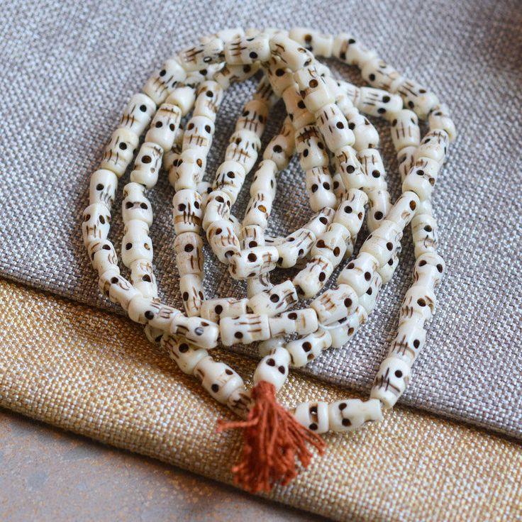 White Carved Bone Skull Beads, Tibetan Bone Skull Prayer Mala Beads, Buddhist Beads, Skull Beads, Tibetan Beads, Bone Beads, LUM14-19 by WanderlustWorldArts on Etsy