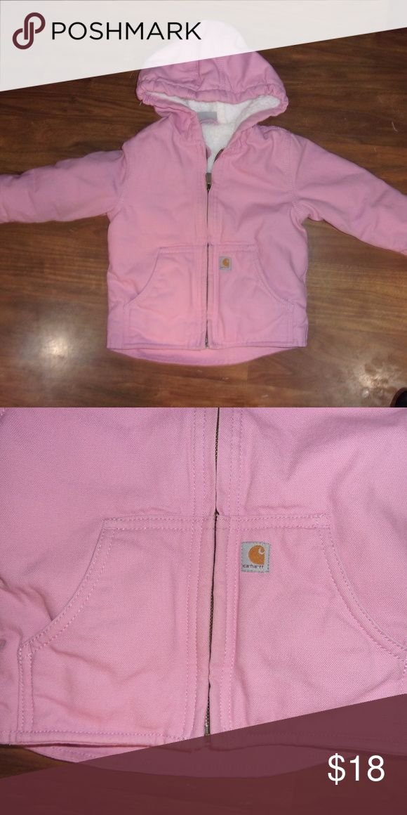 Carhartt Girls Pink Lined Jacket Size 2T by Carhartt Heavyweight, 10-ounce, 100% cotton canvas Sherpa lining for added warmth Droptail hem for extra coverage Hidden sleeve cuffs to keep cold air out  Gently worn and in good condition. Smoke Free Home Carhartt Jackets & Coats
