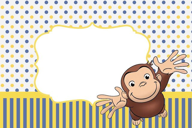 Curious George: Free complete printable kit with frames for invitations, labels for goodies, souvenirs and pictures.