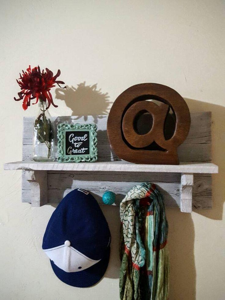 Handmade Whitewashed Coat Rack Shelf, Entryway Coat Rack Wall, Colorful Turquoise Knobs, Reclaimed Wood Coat Rack by WorkinThePlank on Etsy