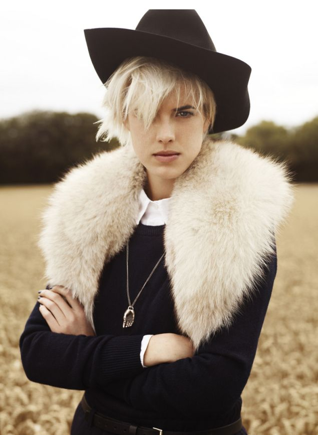 fur collar, white, blonde, platinum, cowboy hat, felt, black sweater, necklace, accessories, collared shirt, buttoned up, fall from: Viva America | Man Repeller