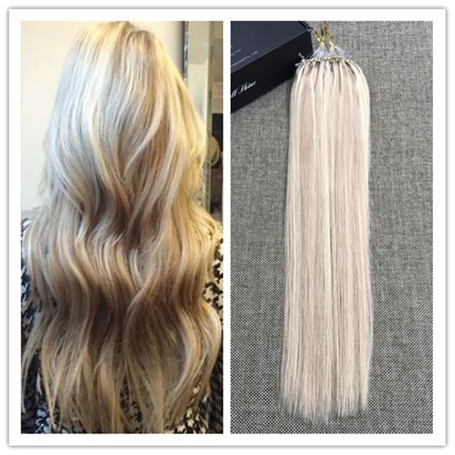 The 25 best micro loop hair extensions ideas on pinterest ombre ash blonde highlighted color 100 real human hair micro loop ring hair extensions pmusecretfo Images