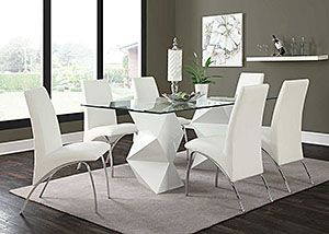 White & White Dining Table w/ 6 Chairs,Coaster Furniture
