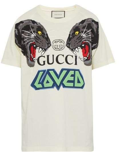 a3b36e1f37e Gucci - Tiger Head Print Cotton Jersey T Shirt - Mens - White Multi ...