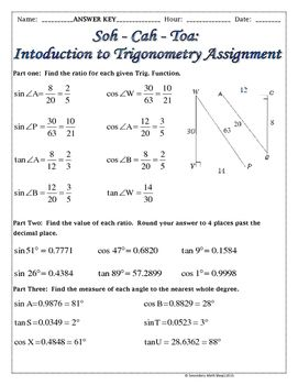 Right Triangles  Soh Cah Toa (Sin, Cos, Tan) Intro To Trig