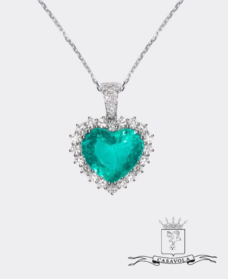 Collana smeraldo taglio cuore