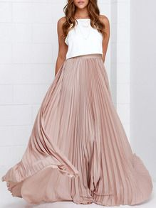 A stunning pleated maxi skirt in a beautiful blush color that is easy to pair with your favorite shirt, leather jacket, and so much more! It is a must-have in anyone's closet. Dresses Length: Maxi Material: Polyester Fabric: Fabric has no stretch