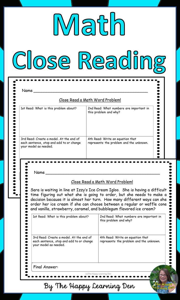 Math Close Reading Worksheets Close Reading Close Reading Worksheets Close Reading Math