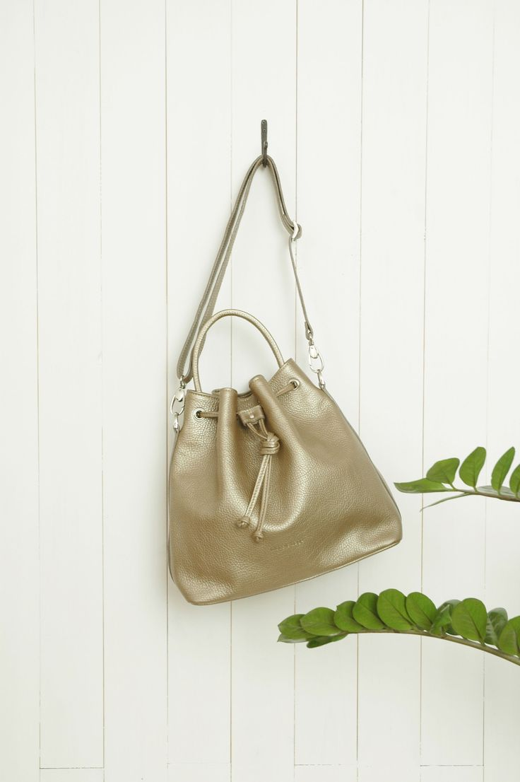 """Charlie Bucket Bag"" Gold Pebbled Leather (full grain) by morelebags"