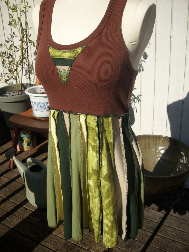Upcycled Tshirt Dress from Recycled Tshirts green and brown. $50.00, via Etsy.