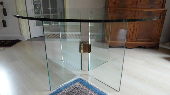 #TeKoop #ForSale  Peter Ghyczy - design glazen tafel t15