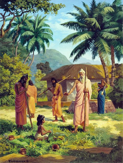 Narada Muni describes to Vyasadeva his past life, how he learned about devotional service from saintly persons who stayed in his home for Caturmasya.. SB 1.6