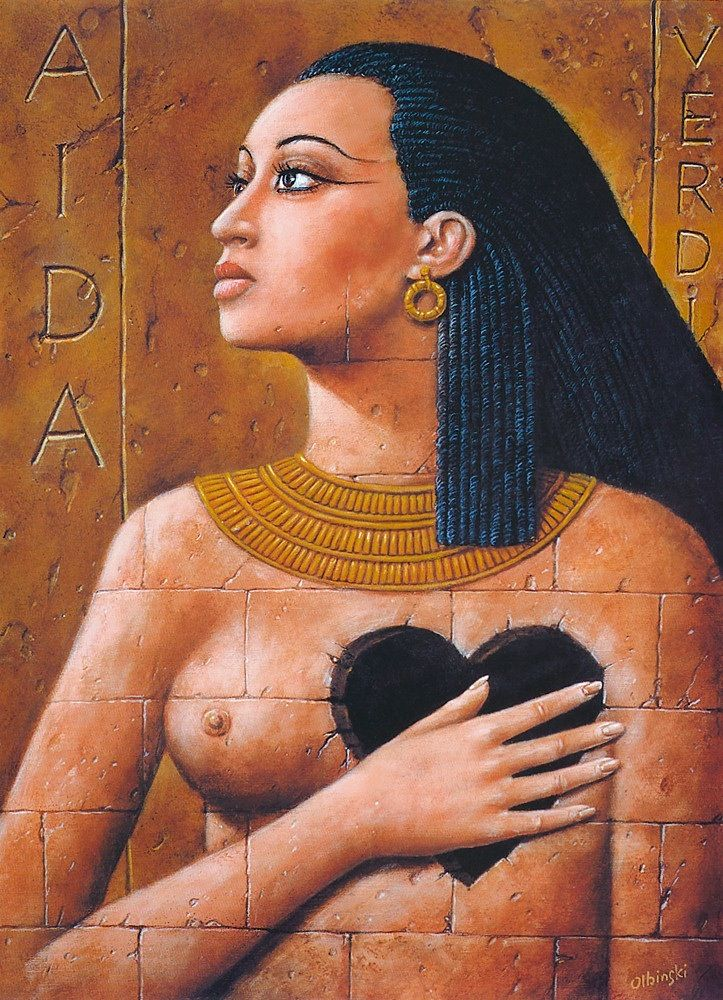 Aida Ethiopian Princess: Image depiction from Verdi famous opera. The opera tells the love story of Aida, an Ethiopian princess enslaved in Egypt, and Radames, an Egyptian military, commander of the army that occupied Aida's homeland. Amonasro, Aida's father, rejects the relationship and demands revenge. Amneris, Pharaoh's daughter, is against it too because she also loves Radames. Verdi composed this work for the Suez Canal opening, and it was premiered in 1871 at El Cairo.