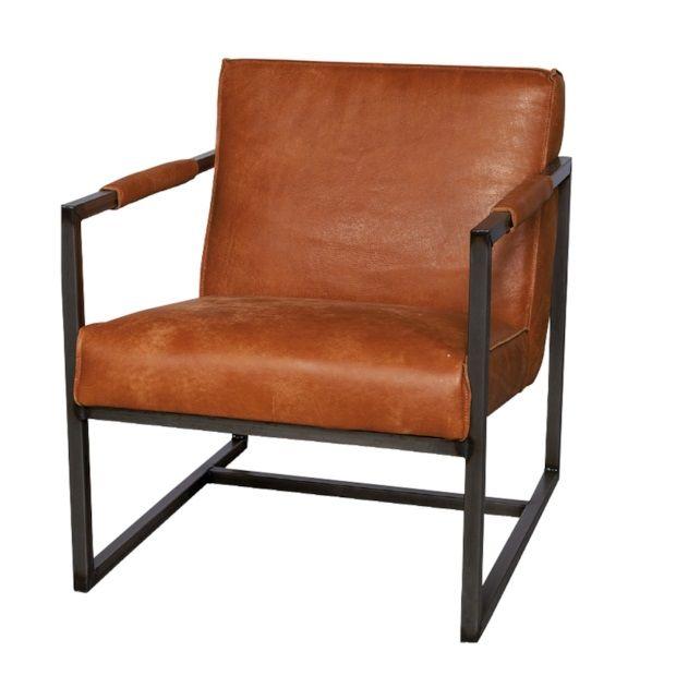 Lifestyle Oklahoma Fauteuil Koeienhuid 62 x 75 cm - Cognac - afbeelding 1