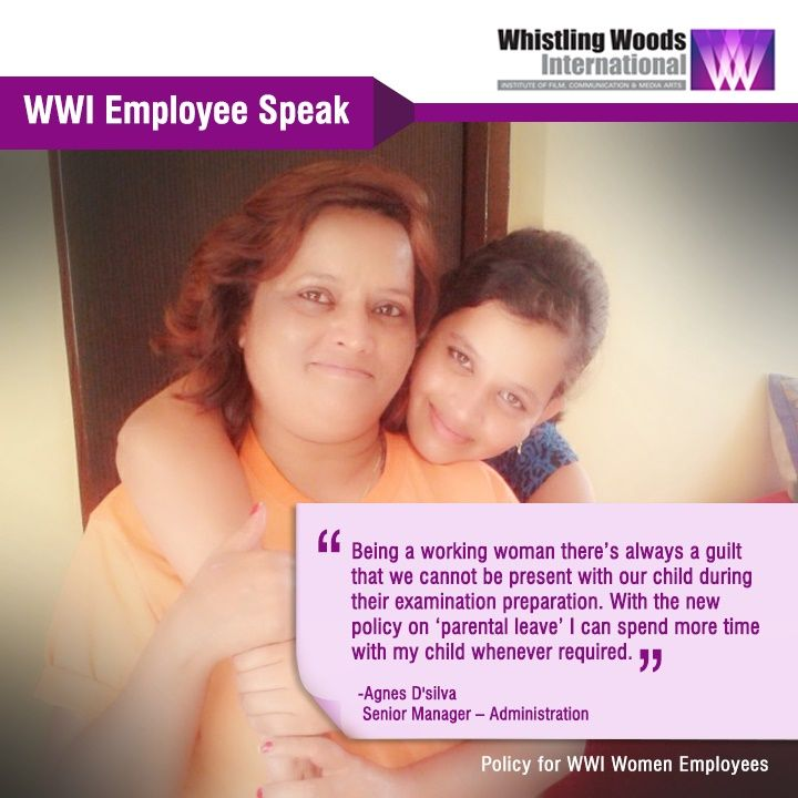 #WWIEmployee Agnes D'silva thanks Whistling Woods International for 'Parental Leave' Policy for Women Employees.