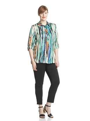 64% OFF Melissa Masse Plus Women's Collared Shirt (Impressionist Abstract)