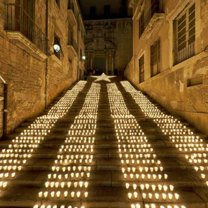 Girona. Pujada de St. Domènech. Catalonia asks for freedom peacefully with candles.