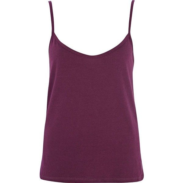 River Island Dark purple cami top ($3.89) ❤ liked on Polyvore featuring tops, sale, camisole tank top, cami tank tops, purple cami, purple tank top and purple top