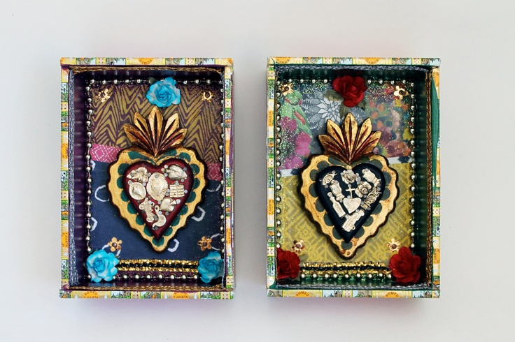 Cigar box shrine with wooden sacred heart shadow box 2 // multicolor // Shrine diorama with wood heart with milagros  // Mexican folk art. $42.00, via Etsy.