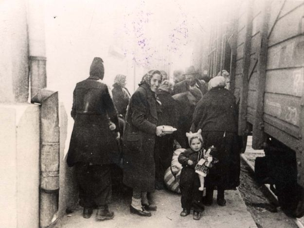 Thrace,Greece March 1943, boarding a deportation train to Auschwitz