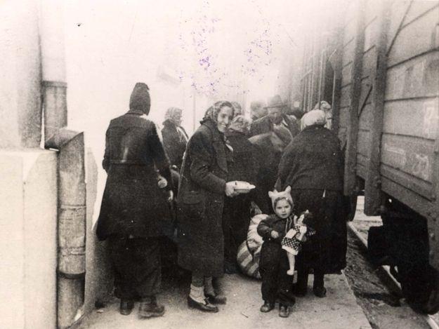 Thrace,Greece March 1943, boarding a deportation train to Auschwitz