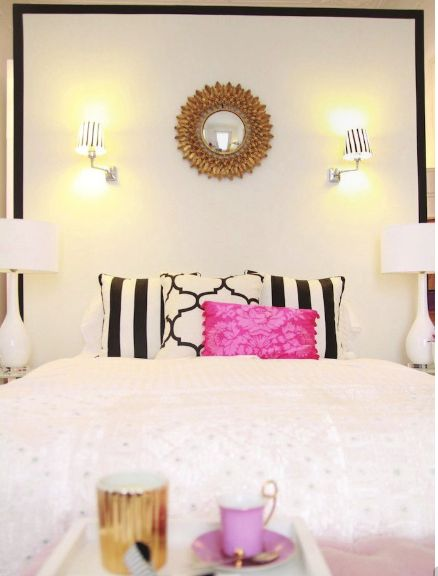 - Pink white and gold bedroom ...