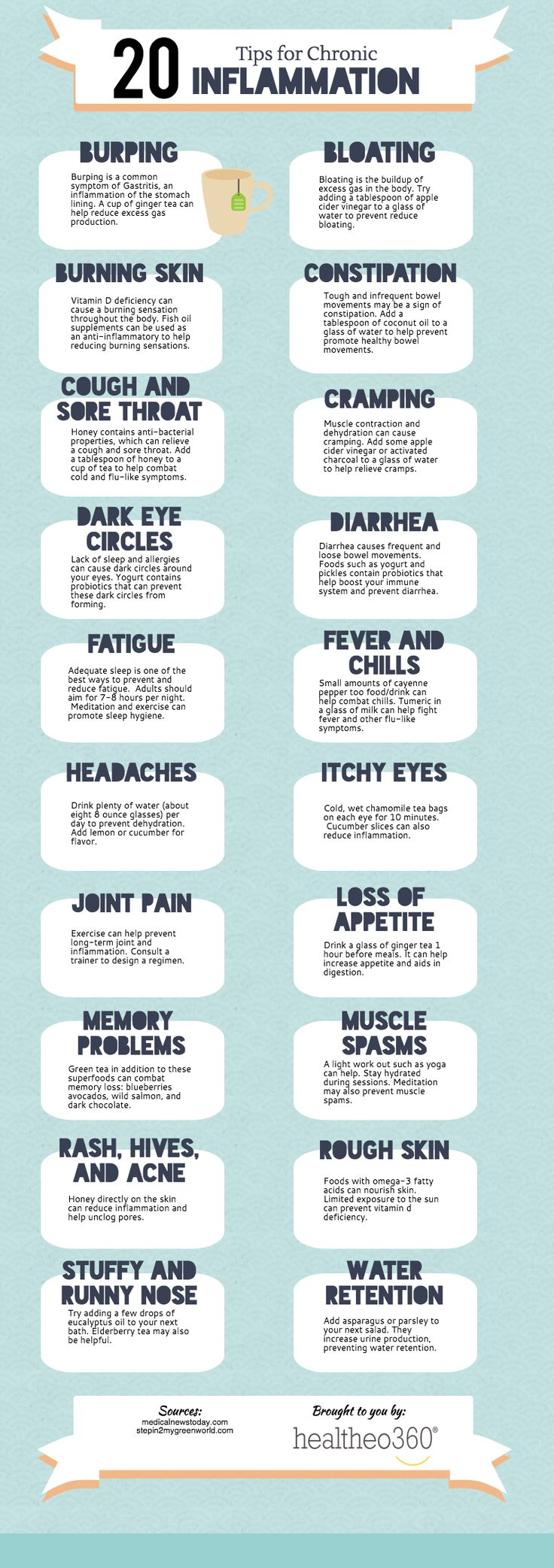 Chronic Inflammation - Twenty Tips  Chronic inflammation may be caused by a handful of diseases and conditions, including: asthma, rheumatoid arthritis, tuberculosis, and more. Environmental and lifestyle factors, such as excess weight, poor diet, stress, and lack of exercise, can also cause chronic inflammation. Try these twenty tips to reduce and prevent chronic inflammation…