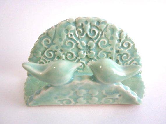 Kitchen sponge holder mint green birds ceramic business for Ceramic business card holder