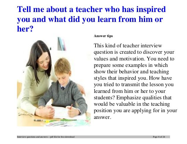 Top 20 teacher interview questions and answers