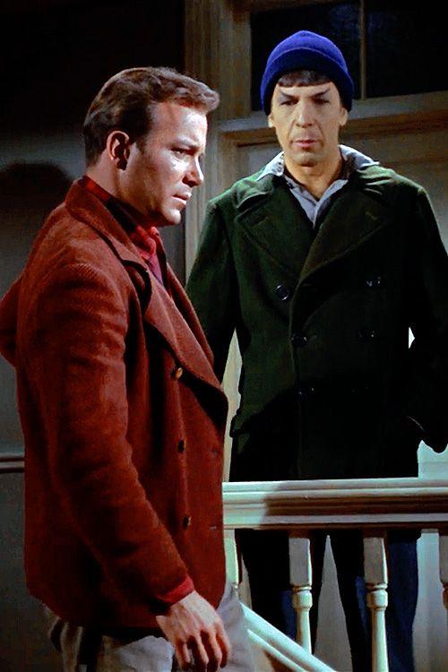 Star Trek, original series, City on the Edge of Forever, Spock (Leonard Nimoy) and Kirk (William Shatner)