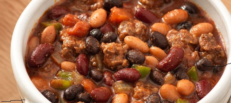 Add caption    3 Bean Chili   INGREDIENTS  1 cans (15 oz) Black Beans  1 can (16 oz) Dark Red Kidney Beans 1 can (16 oz) Pinto Beans 2 lb...