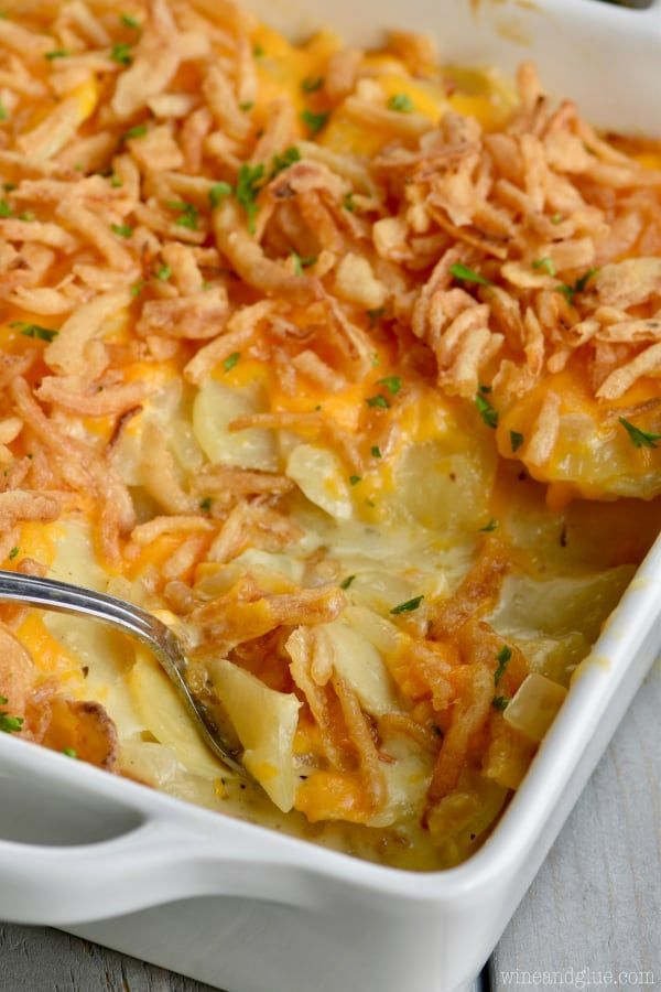 These are The Best Scalloped Potatoes!  Made with chicken stock and heavy cream, they are a lighter version than the original.