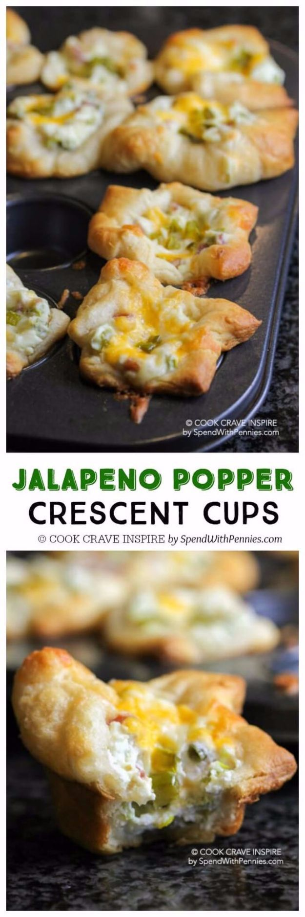 Best Crescent Roll Recipes - Jalapeno Popper Crescent Cups - Easy Homemade Dinner Recipe Ideas With Cresent Rolls, Breakfast, Snack, Appetizers and Dessert - With Chicken and Ground Beef, Hot Dogs, Pizza, Garlic Taco, Sweet Desserts - DIY Projects and Crafts by DIY JOY http://diyjoy.com/crescent-roll-recipes