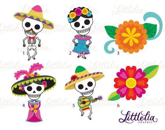 Day Of The Dead Clipart Dia De Los Muertos Clipart 17042 Etsy Halloween Crafts Preschool Day Of The Dead Halloween Preschool