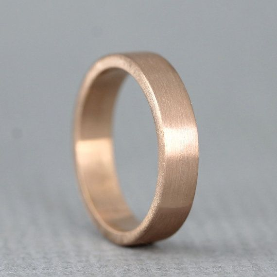 Beautiful Rose Gold Men us Wedding Band Rose Pink Gold Matte Finish mm wide Mens Wedding Ring Made in Canada Commitment Ring